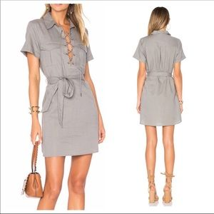 NWT L'Academie The Safari Dress Stone Sz S